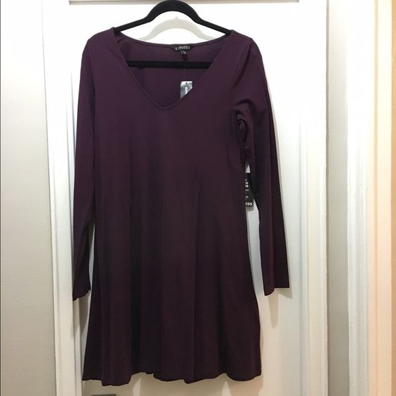 Express Trapeze Dress NWT!!! Purple Express Trapeze Dress. Brand new and in great condition. Express Dresses Long Sleeve