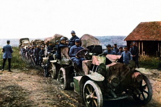 French soldiers and vehicles of the mobile air defense during the Battle of Verdun September 1916 Western Front World War I France…