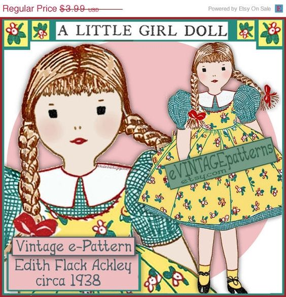 SALE Edith Flack Ackley 1938 LITTLE GIRL doll by eVINTAGEpatterns, $3.39