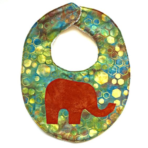 Cotton Batik Elephant Applique Bib