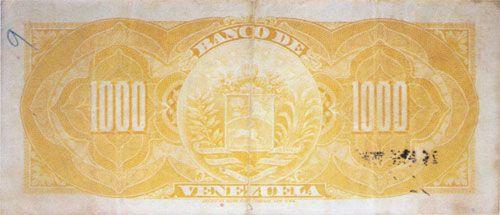 Pieza bbdv1000bs-da01-4 (Reverso). Billete del Banco de Venezuela. 1000 Bolívares. Diseño D, Tipo A. Fecha Enero 31 1936. Serie 4 dígitos