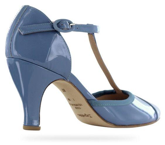 T-strap shoe Baya Pen blue Patent leather