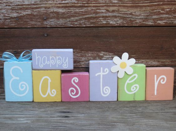 Happy Easter Wood Blocks Home Decoration by DaisyBlossomCreation, $17.99