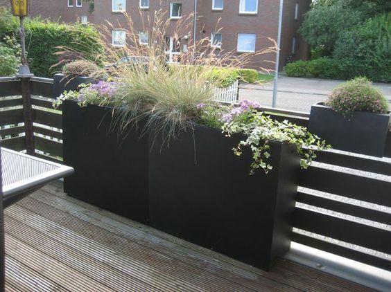 Pflanzkübel Fiberglas Anthrazit fungiert als Sichtschutz auf - pflanzkubel aus beton gestalterische highlights