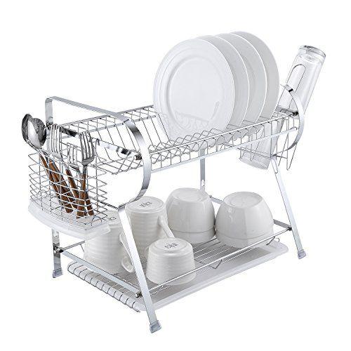2 Tier Dish Drying Rack Kitchen Organizer With Drain Boar Https
