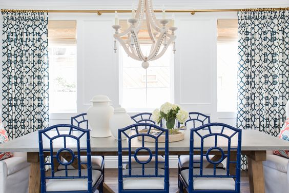 THE MITTEN COTTAGE: - Lake Room :: gold curtain rod with navy blue and white print curtains:
