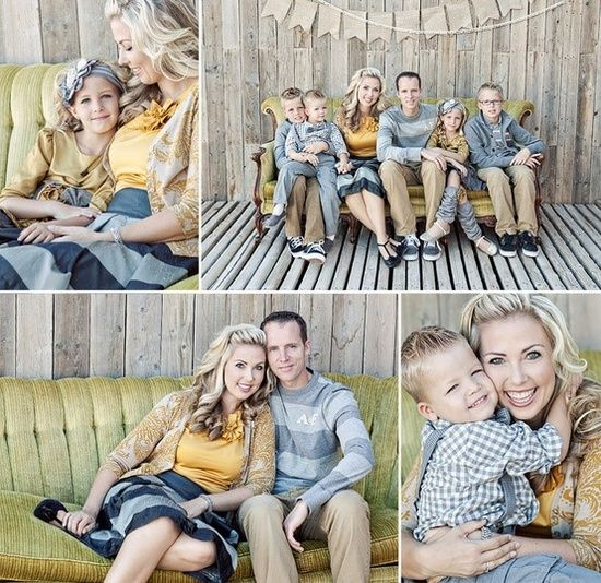 // For family photos, outfits should coordinate in some way, but it's best if each person is dressed somewhat differently than the other.  Patterns and a blend of colors are always fun!