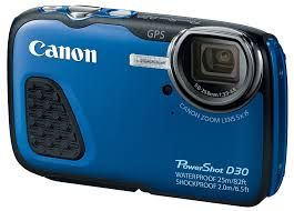 Canon D30 waterproof camera with type