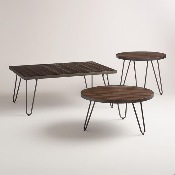 Henry Mid Century Modern Weathered Walnut Round Coffee: Hairpin, World Market And Coffee Tables On Pinterest