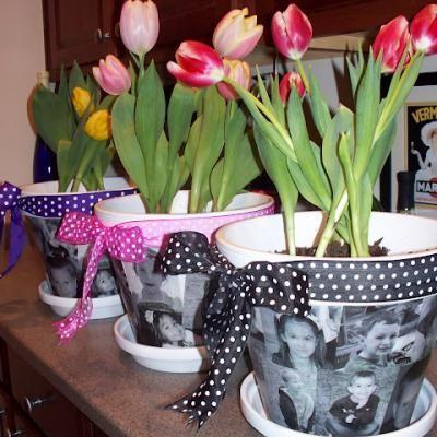 Mod Podge Photos Onto Flower Pots!