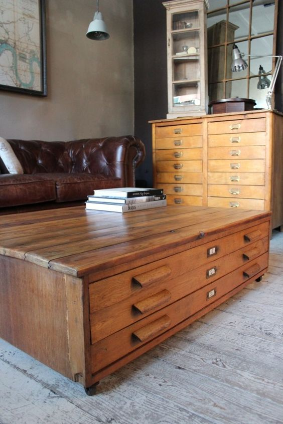 Plan Chest as a Coffee Table