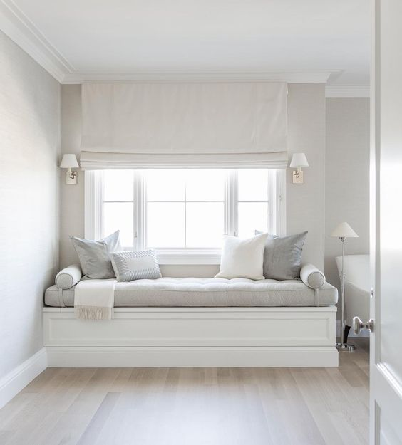 Are you Instagram following Alyssa Kapito Interiors? Love this chic window seat in soft neutral grays x