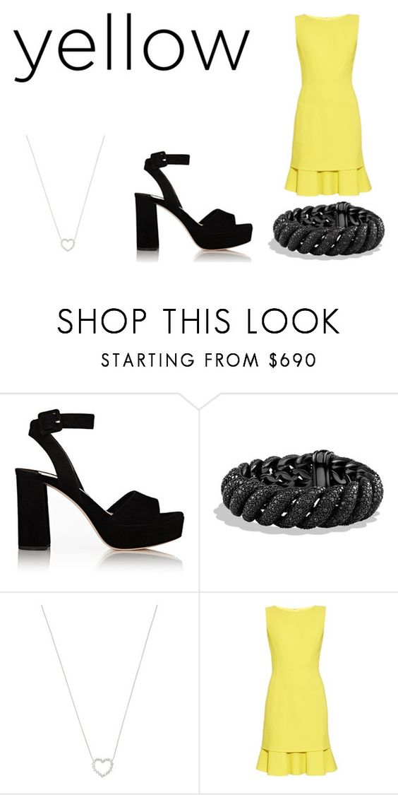 """Untitled #2129"" by andreea0 ❤ liked on Polyvore featuring Miu Miu, David Yurman, Tiffany & Co. and Oscar de la Renta"