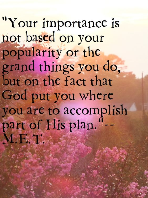 """""""Your importance is not based on your popularity or the grand things you do, but on the fact that God put you where you are to accomplish part of His plan."""" --M.E.T. I had this thought one day and it has been a helpful reminder to me whenever I feel insignificant.:"""