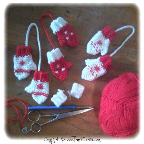 mini moufles pour la d co de noel tricot no l pinterest minis crochet et no l. Black Bedroom Furniture Sets. Home Design Ideas