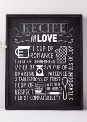 rustic chalkboard sign with the recipe for love