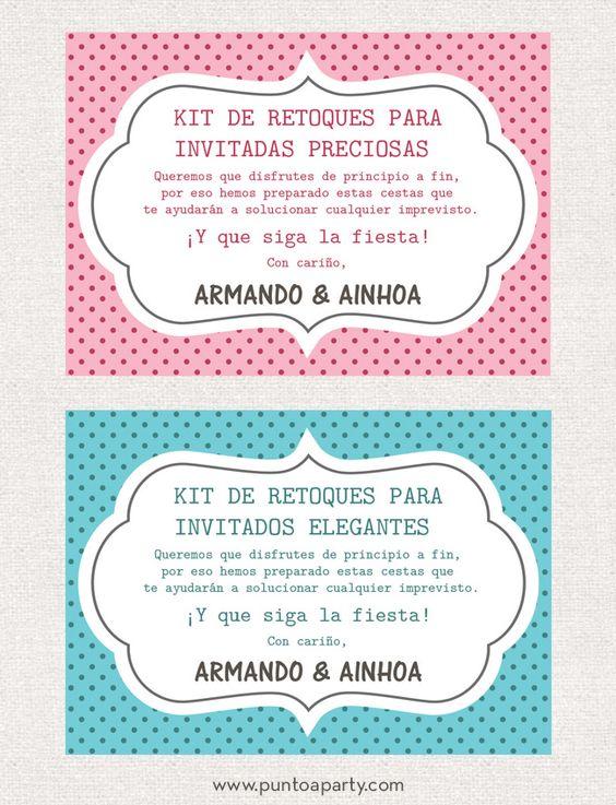 carteles personalizados para las cestas de imprevistos en