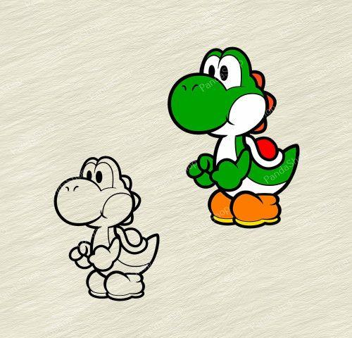 Yoshi Super Mario Bros 2 Svg Dxf Eps Png Cricut Vector Super Mario Tattoo Cartoon Tattoos Mario Tattoo