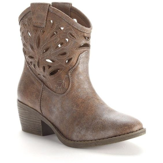 SO® Cutout Cowboy Ankle Boots - Women ($35) ❤ liked on Polyvore featuring shoes, boots, ankle booties, 20. boots., short western boots, short cowboy boots, cutout booties, round toe cowgirl boots and western booties