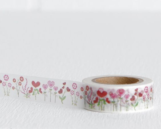 Pink and Green Heart Flower Washi Tape by LobsterBisqueVintage