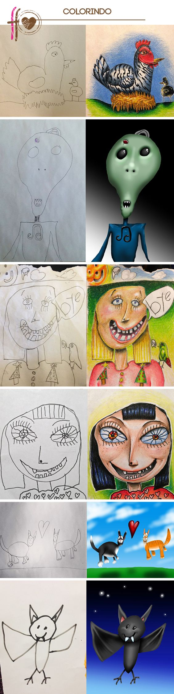 father colors sons' drawings