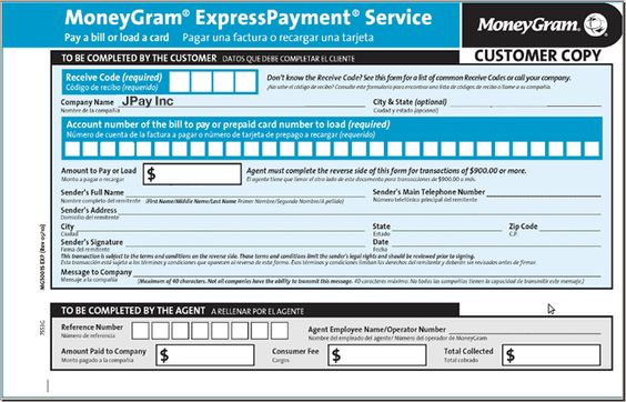 MoneyGram Express Payment Form Fun Food Pinterest Fun food - payment slips