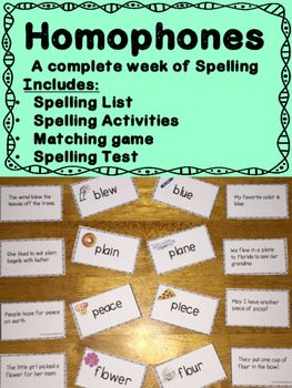 homophones a week of spelling worksheets and matching game activities the o 39 jays and words. Black Bedroom Furniture Sets. Home Design Ideas