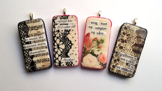 domino pendants   Use magazine clippings, scrapping paper, lace, rub ons, napkins, & etc. to create these small unique collages