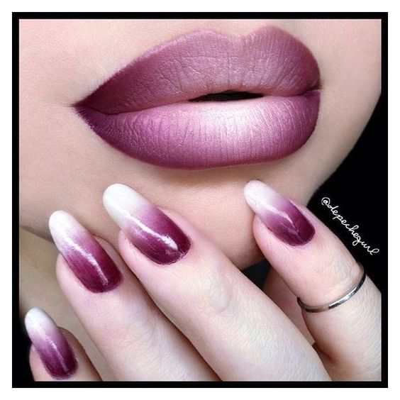 "☠ X†iNA ? PronouncedAsDepesh on Instagram: ""Ombre! Nails - O•P•I... ❤ liked on Polyvore featuring lips"