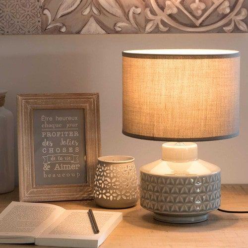 Lampe en céramique grise H 33 cm SLOWHOME