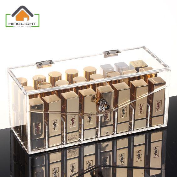 Acrylic Lipstick Storage Box With CoveAcrylic Lipstick Storage Box With Cover //Price: $20.25 & FREE Shipping //   #makeup