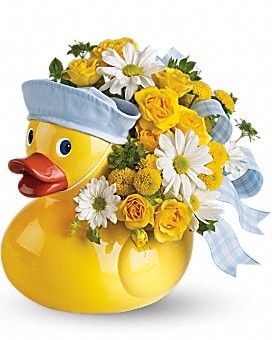 Teleflora's Ducky Delight - Boy Flower Arrangement: