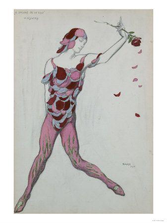 Leon Bakst, costume design for Nijinsky in Le spectre de la rose, 1911