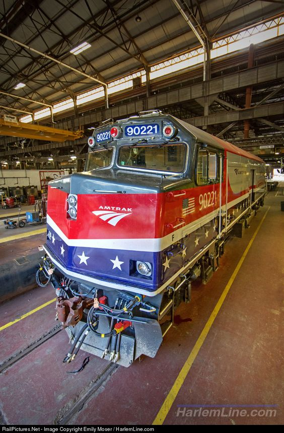 """Now wearing Amtrak's """"Honoring our Veterans"""" scheme, NPCU 90221 gets some additional maintenance work done at the Beech Grove locomotive shops."""