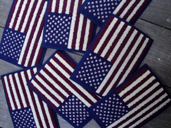 "1, 3 or 10 Loomed 5.5"" x 7.5"" USA Flag Banner Patches Stars Stripes Patriotic Sew on Glue On Applique Americana 4th of July United States ST"