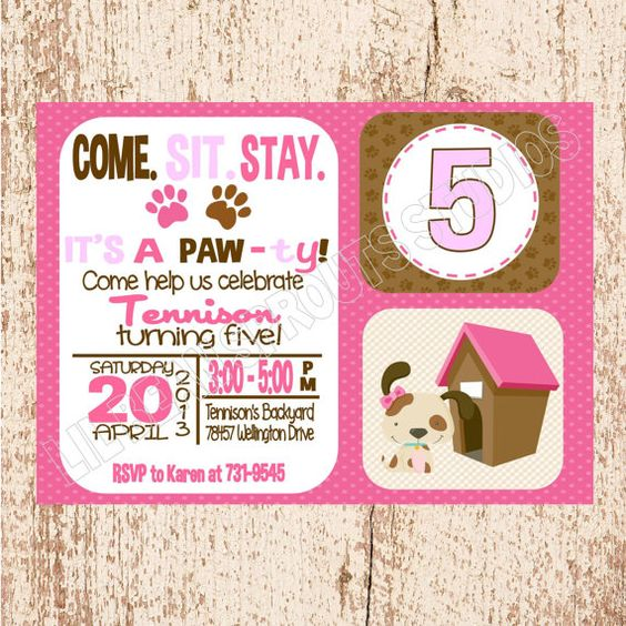 Personalized Girls Puppy Party Dog Birthday Invitation