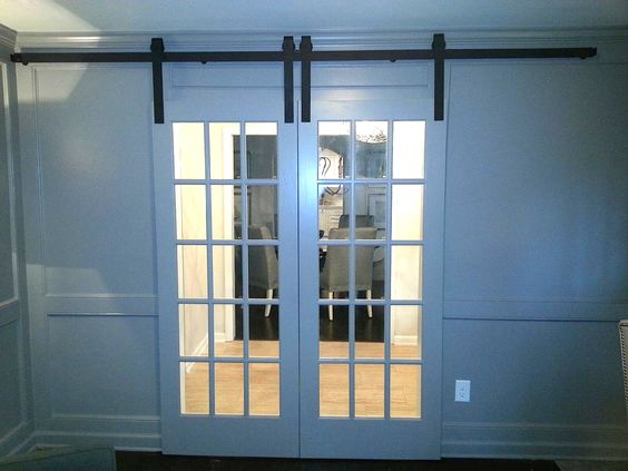 Custom pine barn doors in a french style, add a great look to any room. Available in custom sizes and finishes. www.europeanantiquepine.com