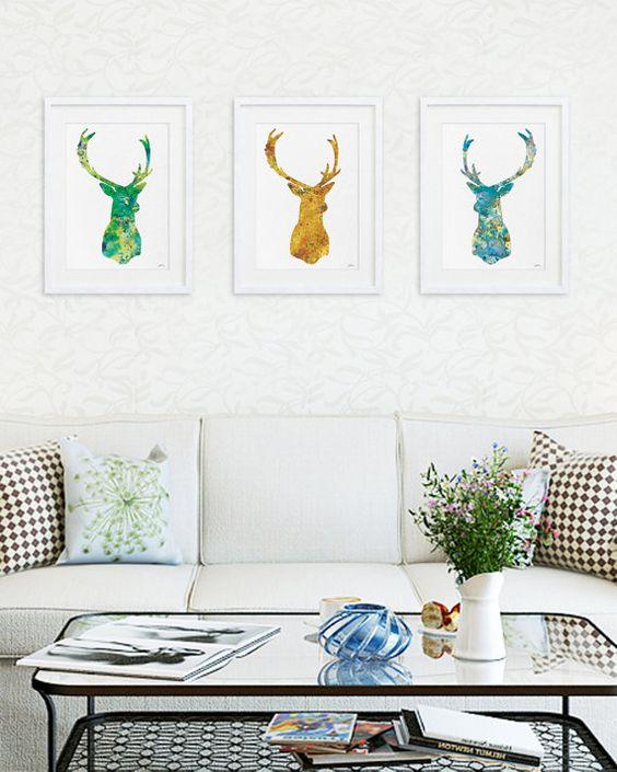 Cervos coloridos dão charme a decoração.