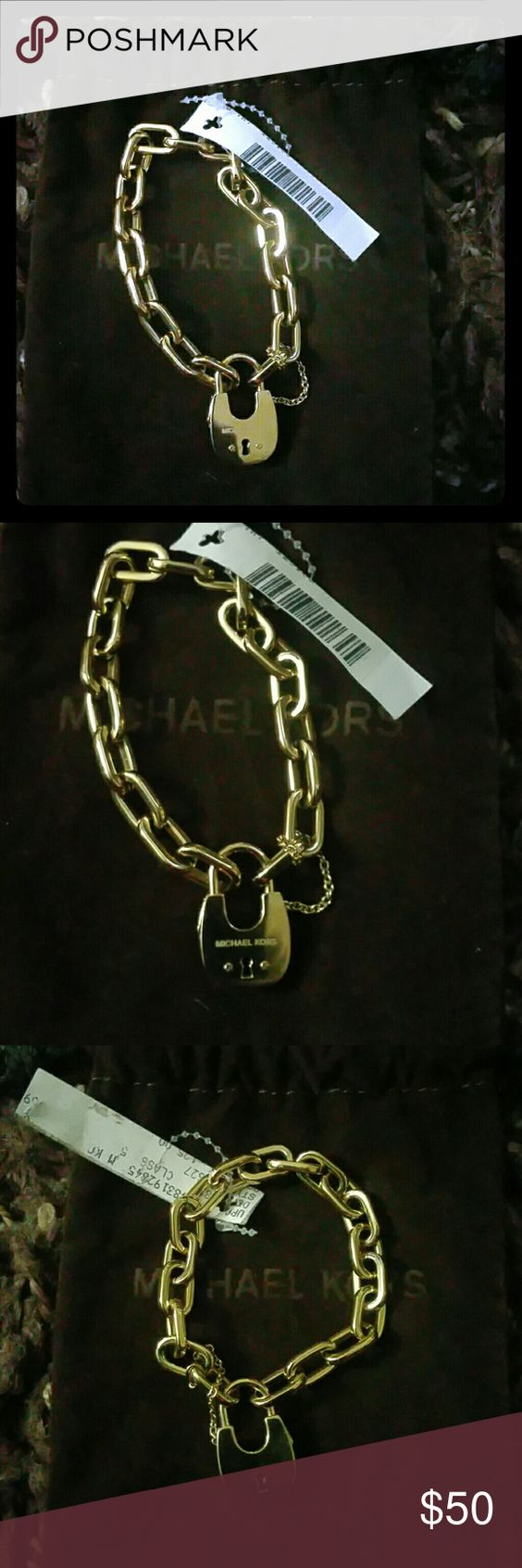 Michael Kors Chain Link Padlock Bracelet Beautiful, trendy, brand new, store retag attached, Michael Kors Chain Link bracelet in Gold tone. Comes with MK jewelry bag. Michael Kors Jewelry Bracelets
