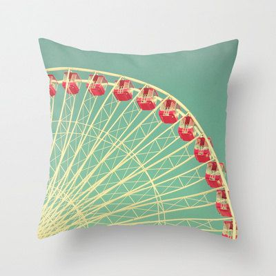 Vintage Ferris Wheel Throw Pillow or Pillow Cover Red Aqua Living Room Home Décor by klgphoto, $40.00