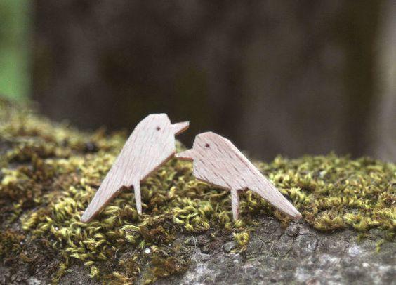 Pendientes de madera pájaros