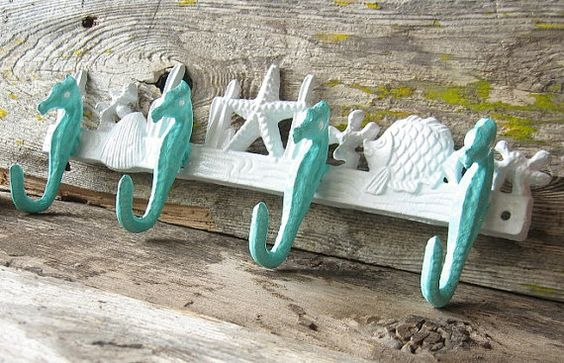 Seahorse Hook Nautical Decor Beach House Decor by happybdaytome