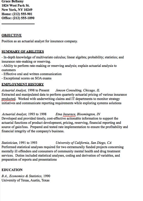 Actuarial Analyst Resume Sample -    resumesdesign - actuarial consultant resume