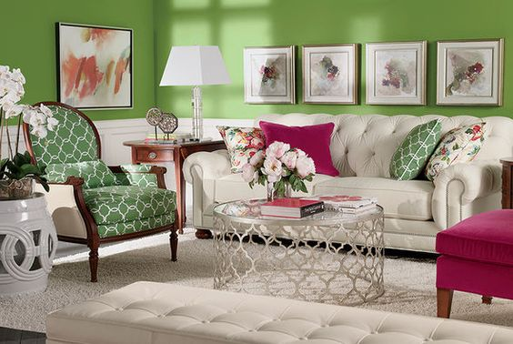 We have a version of this room in our Ethan Allen Torrance lobby. We get so many compliments on how fresh and fun it is. Pink and green living rooms. Ethan Allen furniture.