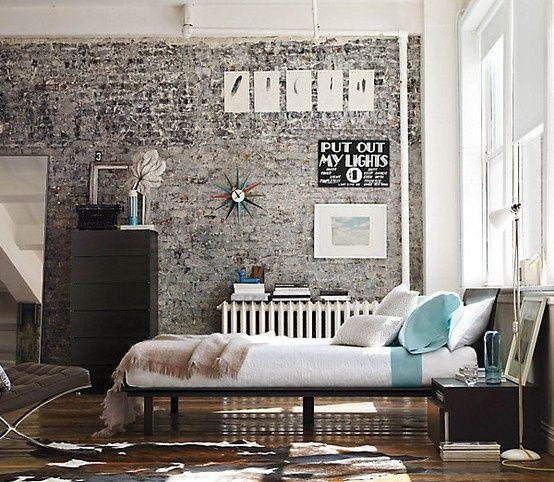 Como decorar tu dormitorio con paredes de ladrillo a la - Decoracion de camas ...