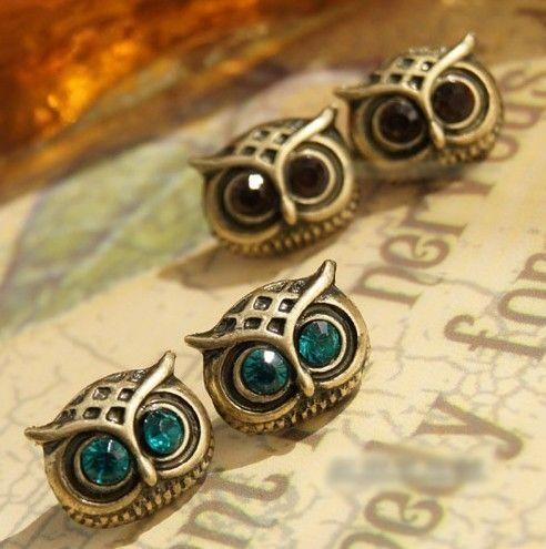 Vintage Four Piece Owl Stud Earrings At Online Jewelry Store Gofavor