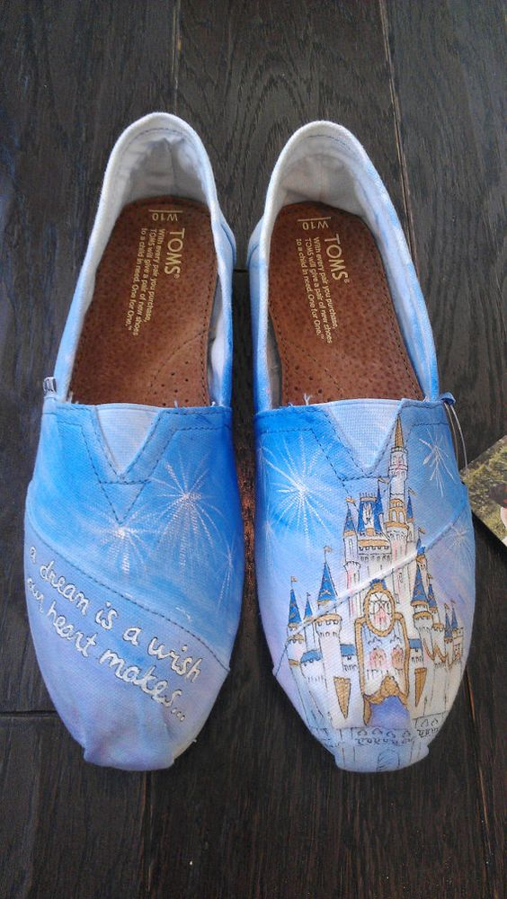 Disney Cinderella Castle Custom TOMS  Watercolor by LaQuist, $105.00...  @Sarah Tobler  do you see how much they're charging for?! crazy!!