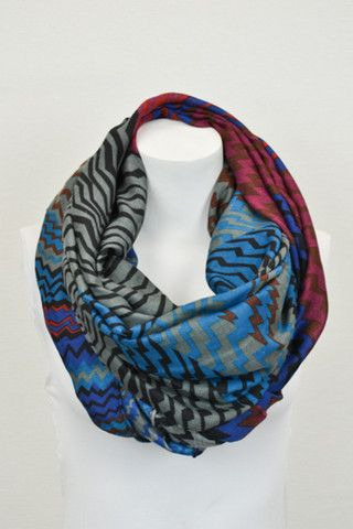 Variegated Chevron Infinity Scarf-Burgundy/Multi – The Simply Dixie Boutique