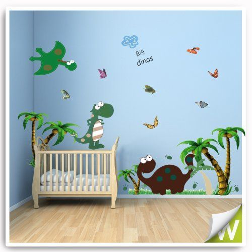 Dinosaur wall stickers animals decor decal large for baby for Dinosaur mural ideas