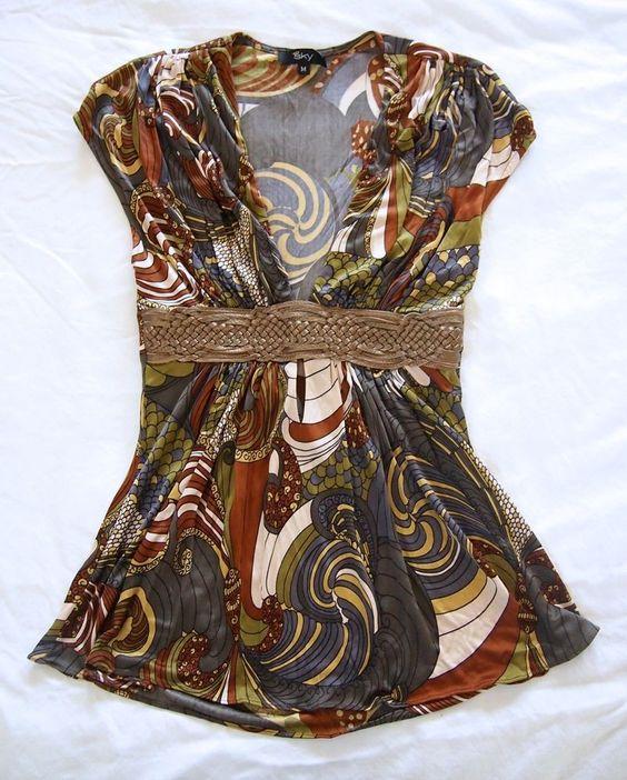 SKY BRAND Brown & Gray Ornate Print Silk Jersey Braided Leather Waist Silk Top M #SKYBRAND #babydoll #Clubwear